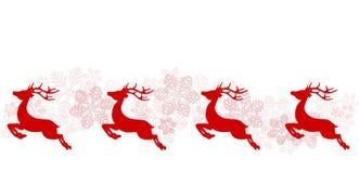 Cartel del saludo de la Navidad con el reno y los copos de nieve rojos, stoc stock de ilustración
