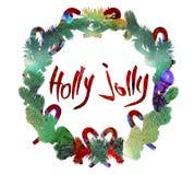 Cartel del saludo de la Navidad de la acuarela Fotos de archivo
