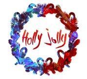 Cartel del saludo de la Navidad de la acuarela Fotografía de archivo libre de regalías