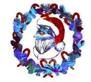 Cartel del saludo de la Navidad de la acuarela Fotografía de archivo