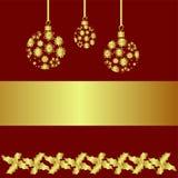 Cartel del saludo de la Navidad en fondo rojo Foto de archivo