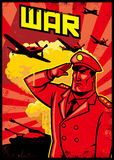 Cartel del saludo del soldado con el fondo del avión de la guerra Fotos de archivo libres de regalías