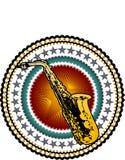 Cartel del saxofón del vintage Foto de archivo libre de regalías