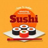 Cartel del sushi Foto de archivo libre de regalías