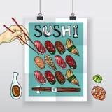 Cartel del sushi Imagenes de archivo