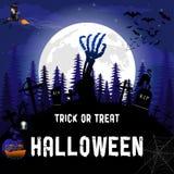 Cartel del truco o de la invitación de Halloween Ilustración del vector Fotos de archivo