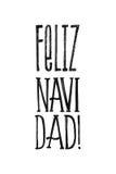 Cartel del vector de Feliz Navidad Merry Christmas Retro en español Diseño monocromático blanco y negro Mano de la tinta dibujada Foto de archivo libre de regalías