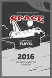 Cartel del vector de la astronáutica del vintage ilustración del vector