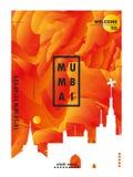 Cartel del vector de la pendiente de la ciudad del horizonte de la India Bombay ilustración del vector