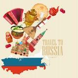 Cartel del vector de Rusia Fondo ruso con el mapa concepto del recorrido Foto de archivo