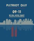 Cartel del vector del día del patriota con la reflexión de espejo 11 de septiembre 9 / 11 con las torres gemelas Fotografía de archivo libre de regalías