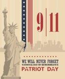 Cartel del vector del día del patriota 11 de septiembre 9 / 11 Fotografía de archivo