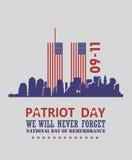 Cartel del vector del día del patriota Los E.E.U.U. conmemorativos 11 de septiembre 9 / 11 con las torres gemelas Imágenes de archivo libres de regalías