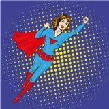 Cartel del vector del vuelo de la mujer del superhéroe en estilo retro cómico del arte pop Foto de archivo libre de regalías