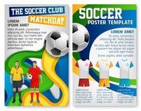 Cartel del vector del partido de fútbol del equipo del club del fútbol stock de ilustración