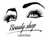 Cartel del vector del salón de belleza con los ojos, las pestañas y la ceja de la mujer hermosa