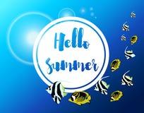 Cartel del vector del verano con los pescados de mar tropicales Fotografía de archivo