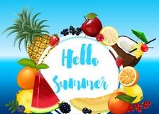 Cartel del verano con las frutas Imagen de archivo libre de regalías