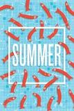 Cartel del verano con muchos pescados que nadan en piscina Fotografía de archivo
