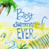 Cartel del verano de la acuarela del vector con las letras encendido Imágenes de archivo libres de regalías