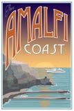 Cartel del viaje de la costa de Amalfi Imagen de archivo
