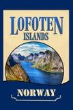 Cartel del viaje de las islas de Lofoten de los parques nacionales, Noruega imagenes de archivo