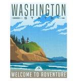 Cartel del viaje de Washington State de la línea de la playa y del faro rugosos Fotos de archivo libres de regalías