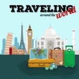 Cartel del viaje en todo el mundo El turismo y las vacaciones, mundo de la tierra, viajan global, ejemplo del vector World Travel Imagen de archivo libre de regalías