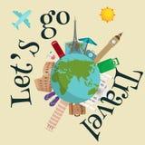 Cartel del viaje en todo el mundo El turismo y las vacaciones, mundo de la tierra, viajan global, ejemplo del vector World Travel Foto de archivo libre de regalías