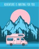 Cartel del viaje por carretera de la aventura de la familia ilustración del vector