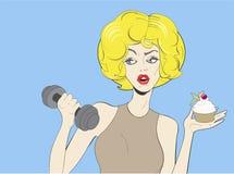 Cartel del vintage del arte pop de la mujer rubia joven stock de ilustración
