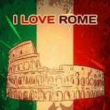 Cartel del vintage con Colosseum en el fondo del grunge Ejemplo dibujado mano retra del vector 'amo Roma' Imágenes de archivo libres de regalías