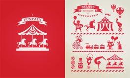 Cartel del vintage con el carnaval, feria de diversión, circo Foto de archivo libre de regalías