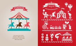 Cartel del vintage con el carnaval, feria de diversión, circo Fotos de archivo libres de regalías
