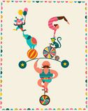 Cartel del vintage con el carnaval, feria de diversión, circo Imagen de archivo libre de regalías