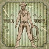 Cartel del vintage con el vaquero que sostiene un lazo Oeste salvaje dibujado mano retra del ejemplo del vector en estilo del bos Imagenes de archivo