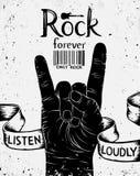 Cartel del vintage con la roca para siempre Muestra de la mano del rock-and-roll fotos de archivo
