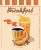 Cartel del vintage con la taza de café Vector Desayuno Imagen de archivo libre de regalías