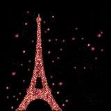Cartel del vintage con la torre Eiffel Imagen de archivo libre de regalías