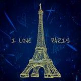 Cartel del vintage con la torre Eiffel en el fondo del grunge Ejemplo retro en estilo del bosquejo 'amo París' Fotos de archivo