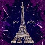 Cartel del vintage con la torre Eiffel en el fondo del grunge Ejemplo retro en estilo del bosquejo 'amo París' Imágenes de archivo libres de regalías