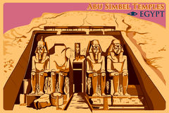 Cartel del vintage de Abu Simbel Temples en el monumento famoso de Nubia en Egipto stock de ilustración