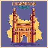 Cartel del vintage de Charminar en el monumento famoso de Hyderabad de la India stock de ilustración