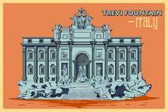 Cartel del vintage de la fuente del Trevi en el monumento famoso de Roma en Italia ilustración del vector