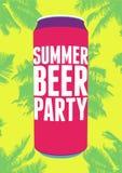 Cartel del vintage de la tipografía del partido de la cerveza del verano Ilustración retra del vector Imágenes de archivo libres de regalías