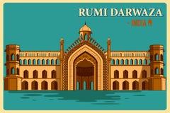Cartel del vintage de Rumi Darwaza del monumento famoso de Lucknow de la India ilustración del vector