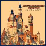 Cartel del vintage del castillo de Neuschwanstein en el monumento famoso de Schwangau en Alemania ilustración del vector