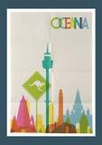 Cartel del vintage del horizonte de las señales de Oceanía del viaje Imagenes de archivo