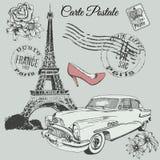Cartel del vintage del tema de París Foto de archivo libre de regalías