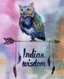 Cartel del Watercolour con el búho en flecha con la pluma fotos de archivo libres de regalías